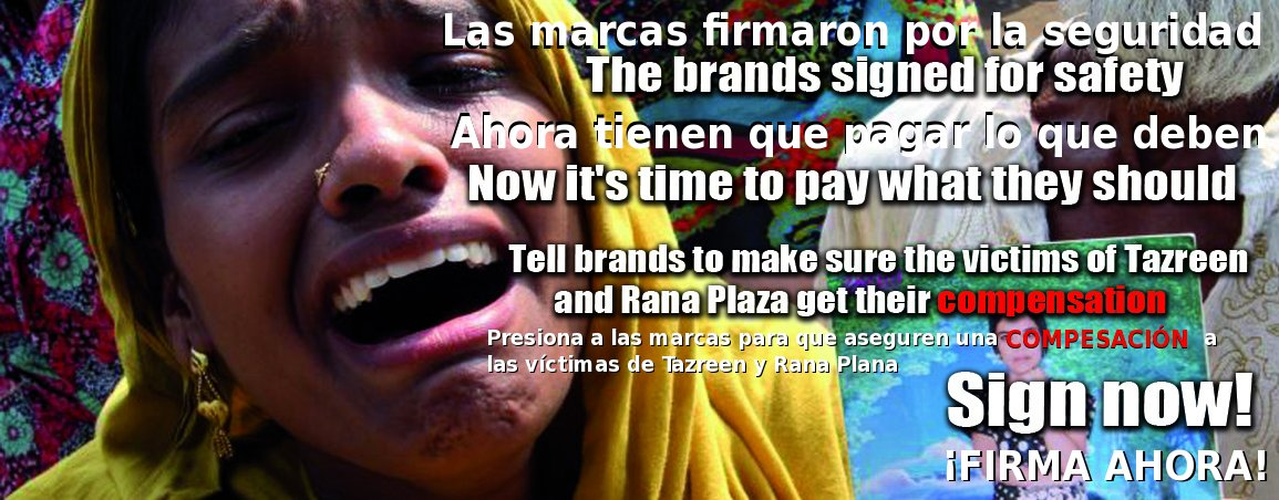 Activistas de toda Europa protestan para exigir que las marcas paguen indemnizaciones a las víctimas de las tragedias de Bangladesh