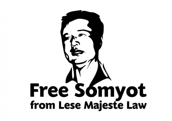 """¡Libertad para Somyot!  Somyot lleva 4 años en prisión por """"ofender  al rey"""" de Tailandia"""