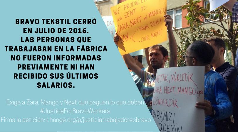 Justice For Bravo Workers: Zara, Mango y Next ¡Pagad lo que debéis!