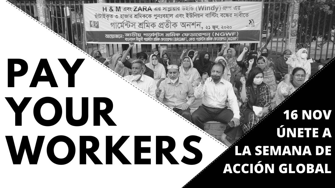 #PayYourWorkers. Semana de acción global para exigir a las marcas que paguen lo que deben