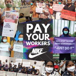 Collage de imágenes de protestas de trabajadoras de NIKE exigiendo el pago de salarios